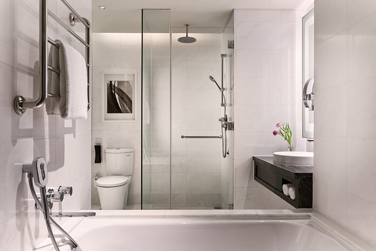 Executive room with bathtub and overhead shower